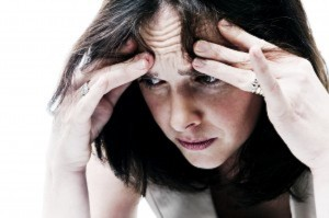 woman showing signs of anxiety or depression